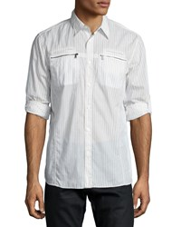 John Varvatos Star Usa Double Zip Pocket Roll Tab Shirt White