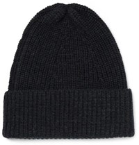 The Workers Club Ribbed Merino Wool Beanie Navy