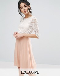 Elise Ryan Midi Dress With Scallop Lace Bodice And Low Back Nude Cream Pink