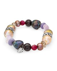 Stephen Dweck Mixed Stone And Pearl Stretch Bracelet Multi