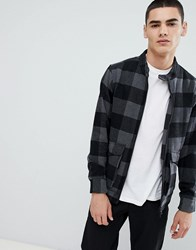 Only And Sons Checked Wool Harrington Jacket Black Check