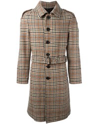 Burberry Checked Mid Length Coat Brown