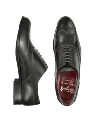 Fratelli Borgioli Handmade Black Italian Leather Wingtip Oxford Shoes