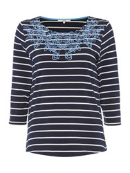 Dickins And Jones Amelia Embroidered Jersey Top Navy Stripe