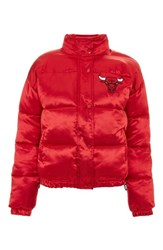 Topshop 'S X Unk Chicago Bulls Puffer Jacket Red