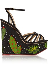Charlotte Olympia Desert Night Meredith Embellished Linen Wedge Sandals Black