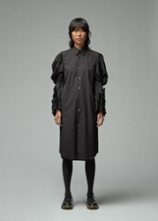 Comme Des Garcons Shirt Dress With Ruffled Sleeves Black