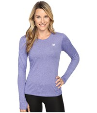 New Balance Heathered Long Sleeve Shirt Spectral Heather Women's Long Sleeve Pullover Purple