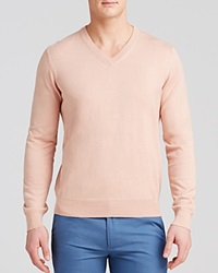 The Men's Store At Bloomingdale's Cotton Cashmere V Neck Sweater Rose