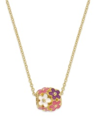 Lily Nily Children's 18K Gold Over Sterling Silver Necklace Enamel Flower Cluster Pendant