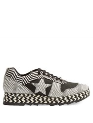 Stella Mccartney Macy Faux Suede Trainers Black White