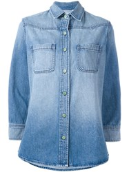Sandrine Rose Rear Patch Denim Shirt Blue