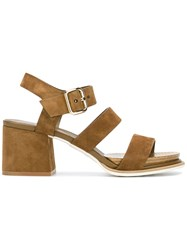 Tod's Strappy Block Heel Sandals Brown