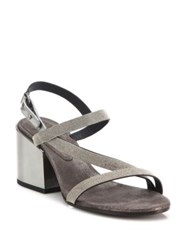 Brunello Cucinelli Monili Beaded Metallic Leather Block Heel Sandals
