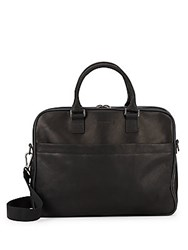 Kenneth Cole Colombian Leather Triple Gusset Top Zip Briefcase Black