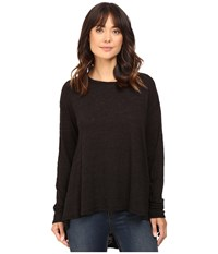 Heather Cotton Long Sleeve Swing Top Black Women's Clothing