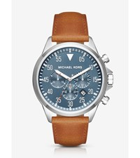 Gage Silver Tone And Leather Watch