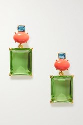 Kenneth Jay Lane Brandon Maxwell Gold Plated Multi Stone Earrings One Size