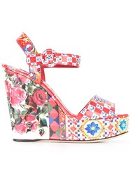 Dolce And Gabbana Bianca Wedge Sandals Red
