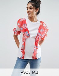 Asos Tall T Shirt With Floral Ruffle Detail White