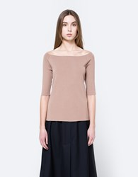 Achro Off Shoulder Knit Top Camel