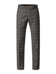 Gibson Charcoal Trousers With Apricot Check Blue