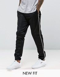 Asos Skinny Jogger In Polytricot With White Piping Black