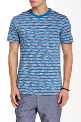 Slate And Stone Striped Space Dye Crew Neck Tee Blue