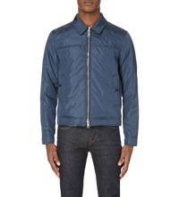 Burberry Leather Trimmed Nylon Jacket Blue