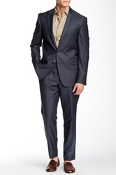 Kenneth Cole Reaction Two Button Notch Lapel Wool Suit Blue