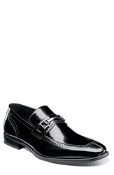 Stacy Adams Tanner Brogued Bit Loafer Black Leather