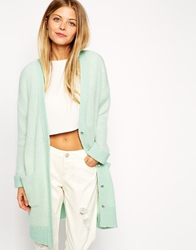 Asos Cardigan In Midi Shape With Contrast Reverse Mint