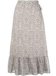 Suboo Snakeprint Wrap Skirt Neutrals