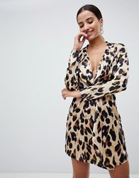 Missguided Knot Front Dress In Leopard Multi