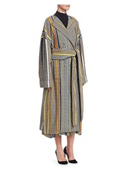Rosie Assoulin Oversized Striped Houndstooth Coat Multi
