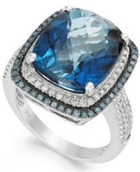 Macy's 14K White Gold London Blue Topaz 13 1 2 Ct. T.W. And Blue And White Diamond 5 8 Ct. T.W. Ring