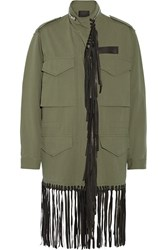 Alexander Wang Leather Fringed Cotton Twill Jacket Army Green
