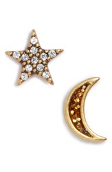 Marc By Marc Jacobs Women's Moon And Star Mismatch Stud Earrings Red Multi