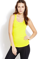 Forever 21 Ruched Racerback Tank Yellow