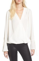 Trouve Women's Surplice Tie Sleeve Top Ivory