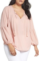 London Times Plus Size Women's Peasant Blouse Rose