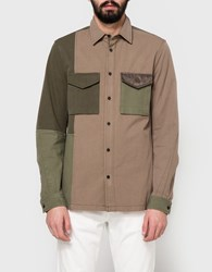 3.1 Phillip Lim Ls Mixed Canvas Patchwork Shirt Army