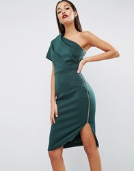 Asos One Shoulder Scuba Deep Fold Midi Dress With Exposed Zip Green