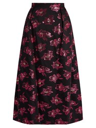 The Vampire's Wife Bell Floral Fil Coupe Midi Skirt Black Pink