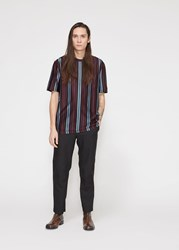 Lanvin 'S Vertical Striped T Shirt In Burgundy Blue Size Small 100 Cotton Burgundy Blue