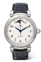 Iwc Schaffhausen Da Vinci Automatic Moon Phase 36Mm Stainless Steel And Alligator Watch Silver