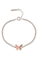 Olivia Burton Social Butterfly Chain Bracelet Two Tone Silver Rose Gold