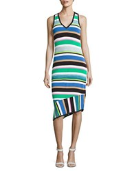 Laundry By Shelli Segal Striped Asymmetric Sheath Dress Green