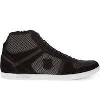 The Kooples Fishnet Suede High Top Trainers Black