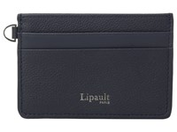 Lipault Paris Plume Elegance Leather Card Holder Navy Credit Card Wallet